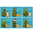 happy new year tree and dog vector image vector image