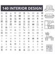 interior design editable line icons 100 vector image vector image