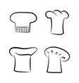 kitchen caps set headwear item for baker chef cook vector image vector image