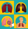 lung organ human breathing icons set flat style vector image vector image