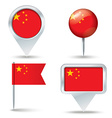 Map pins with flag of China vector image vector image