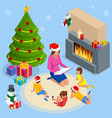 merry christmas and happy holidays concept mom vector image vector image