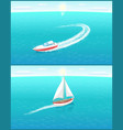 modern yachts marine nautical personal ships icon vector image vector image