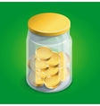 moneybox with golden coins vector image