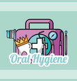 oral hygiene tooth crown kit brush tools dental vector image