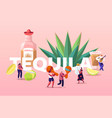 people drinking tequila concept tiny characters vector image