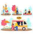 people in park family walk and romantic date vector image vector image
