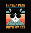plan with cat retro vector image vector image