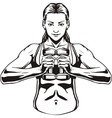 Pretty young woman lifting dumbbells vector image vector image