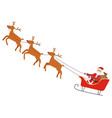 santa claus riding carriage with reindeers vector image