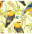 seamless pattern birds and plants bird pattern vector image vector image