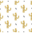 seamless pattern with golden cactuses and vector image