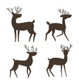 set of four deer silhouette vector image