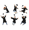 set with happy graduate students in vector image vector image