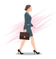 side view a business woman walking forward vector image vector image
