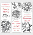 sketch - pasta card menu vector image vector image