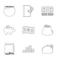 sponsor assistance icons set outline style vector image