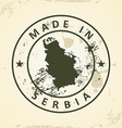 Stamp with map of Serbia vector image vector image