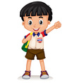 Thai boy carrying a backpack vector image vector image