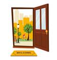 wood brown door with view park urban landscape vector image vector image