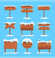 wooden signs with snow on blue background vector image