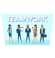 business people team with gadgets work to success vector image