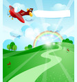 sunrise with airplane and banner vector image
