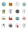car maintenance and repair icons set flat style vector image