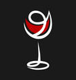 abstract red wine glass symbol icon vector image vector image