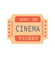 admit one cinema ticket sample vector image vector image