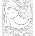 adult coloring bookpage a cute bird wearing a vector image vector image