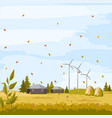 autumn meadow field with barn and windmill vector image vector image