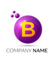 b letter splash purple dots and circle bubble vector image vector image