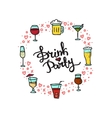 beverages doodle style circle frame vector image