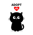 black cat silhouette adopt me red heart pet vector image vector image