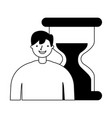 businessman with hour glass time vector image vector image