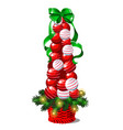 cartoon topiary in the form of a cone christmas vector image vector image