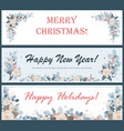 christmas horizontal banners or flyers set vector image vector image