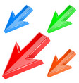 colored down arrows 3d signs vector image vector image