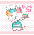 cute cat with sweet cake for kids vector image