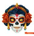 day dead dia de los muertos skull woman 3d vector image