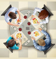 eating characters top view vector image vector image