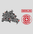 electrical collage berlin city map and snowflakes vector image vector image