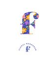 f letter floral monogram vector image