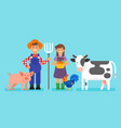 farmers man and woman vector image vector image