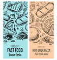 fast food vintage advertising set vector image
