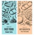 fast food vintage advertising set vector image vector image