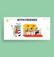 girlfriends spend time together website landing vector image vector image