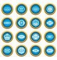 golden labels icons blue circle set vector image vector image