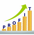 graph revenue growth and profits gold coins vector image